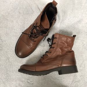 ALDO brown leather zip up & tie combat boots